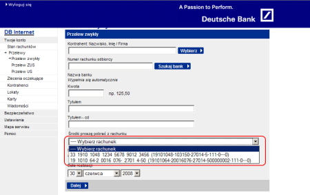 Podstawowe informacje o rachunku -- widać ujemne saldo i większe od zera wolne środki